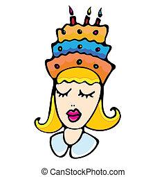 bolo, menina, caricatura