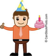 bolo, menino, aniversário, vetorial