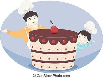 bolo, menino, pai, ilustração, criança