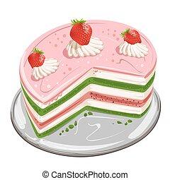 bolo, moranguinho, pedaços
