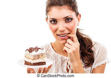 bolo, mulher