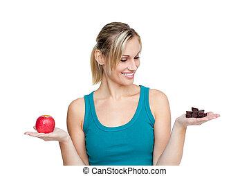 bolo, mulher, maçã, vermelho