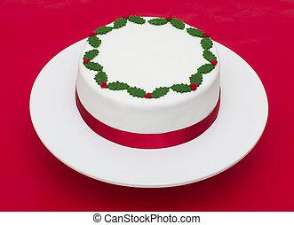 bolo, natal, fundo, vermelho