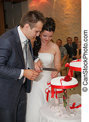 bolo, noiva, corte, noivo, casório