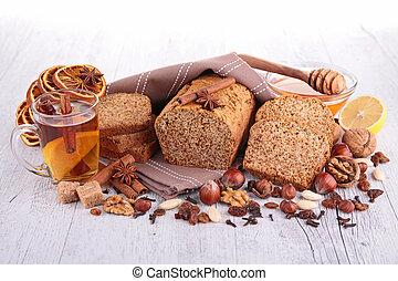 bolo pão gengibre, e, ingrediente