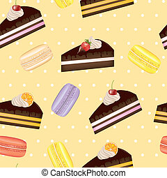 bolo, padrão, seamless, macarons