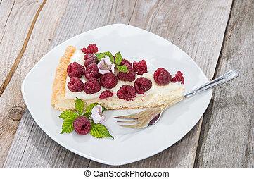 bolo, pedaço, framboesa