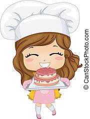 bolo, pequeno, assando, menina