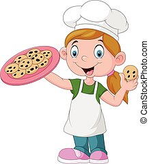 bolo, pequeno, caricatura, menina, segurando