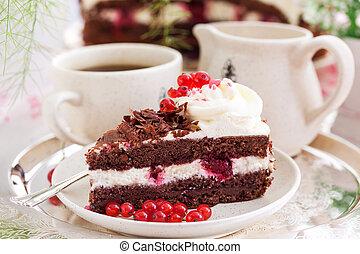 bolo, pretas, caseiro, fresco, pedaço, floresta