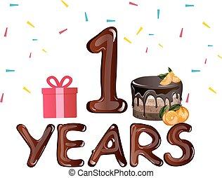 bolo, primeiro aniversário, cartão, chocolate