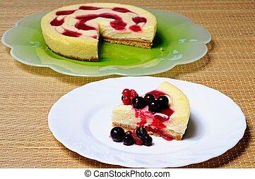 bolo queijo, berries., vermelho