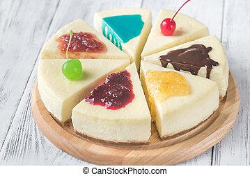 bolo queijo, diferente, toppings