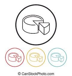 bolo queijo, linha, ícone