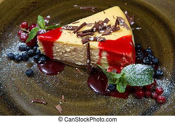 bolo queijo, molho, moranguinho