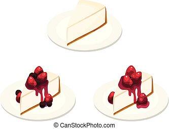 bolo queijo, vário, três, fatias