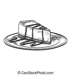 bolo queijo, vetorial, ilustração