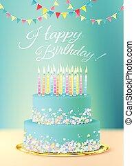 bolo, realístico, mensagem, aniversário, feliz
