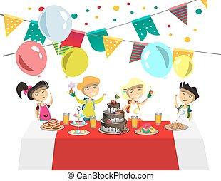 bolo, s, bolas, crianças, aniversário