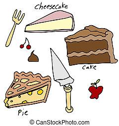 bolo, sobremesa, jogo, torta, ícone