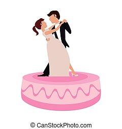 bolo, sobremesa, par, casório