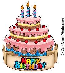 bolo, tema, aniversário, feliz