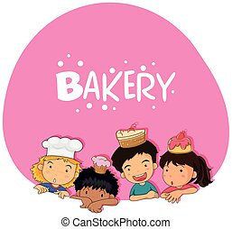 bolo, tema, panificadora, crianças