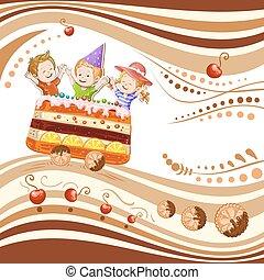 bolo, trem vagão, viajando, crianças