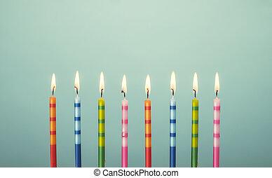 bolo, velas, aniversário, coloridos