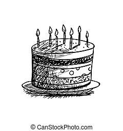 bolo, vetorial, desenho, aniversário