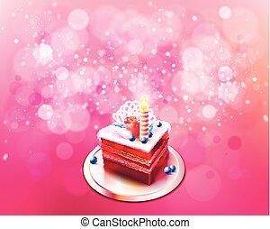 bolo, vetorial, pedaço, ilustração, chocolate