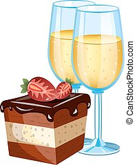 bolo, vidro, champanhe