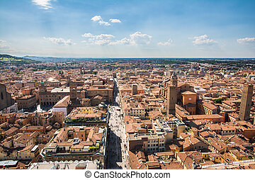 """Bologna, Italy-May 17,2014:panorama of Bologna view from the famous """"Asinelli"""" tower located in the centre of the city. You can see the dome of St. Petronio and the central main square."""