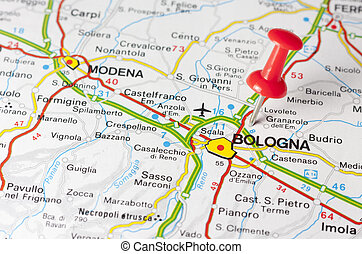 Bologna City On A Road Map