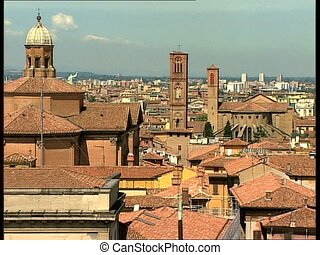 BOLOGNA cityview with bell towers - City view of the ancient...