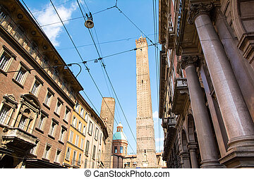 Bologna, Italy-May 17,2014:picturesque view of the famous two towers of Bologna During a sunny day