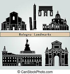 Bologna landmarks and monuments isolated on blue background in editable vector file