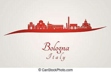 Bologna skyline in red and gray background in editable vector file