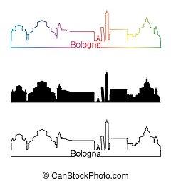 Bologna skyline linear style with rainbow in editable vector file