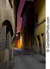 bologna, utca, középkori, éjszaka