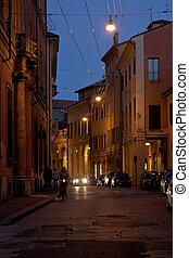 bologna, utca, történelmi terület, éjszaka