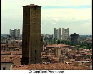 BOLOGNA view with tower skyscrapers - City view of the...