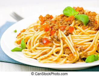 bolognese espaguetis, blanco, placa