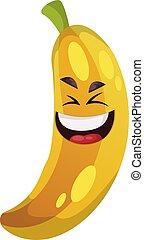 bolond, ábra, vektor, nevető, háttér, fehér, banán