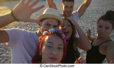 bolondozás, csoport, mindenfelé, video, csevegés, arc, buta, barátok, gyártás