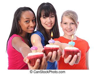 bolos aniversário, para, 3, misturado étnico, meninas adolescentes