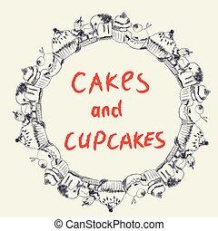 bolos, cupcakes, quadro, panificadora, café, ou