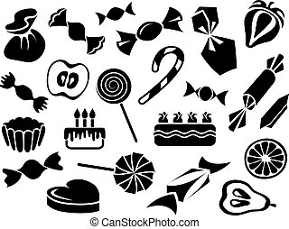 bolos, doces, frutas