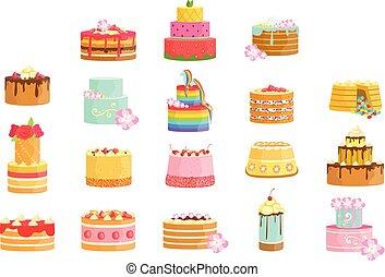 bolos, ocasião, sortimento, decorado, especiais