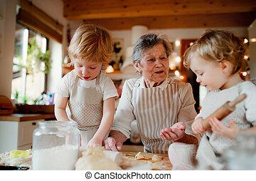 bolos, vó, pequeno, fazer, sênior, toddler, home., crianças